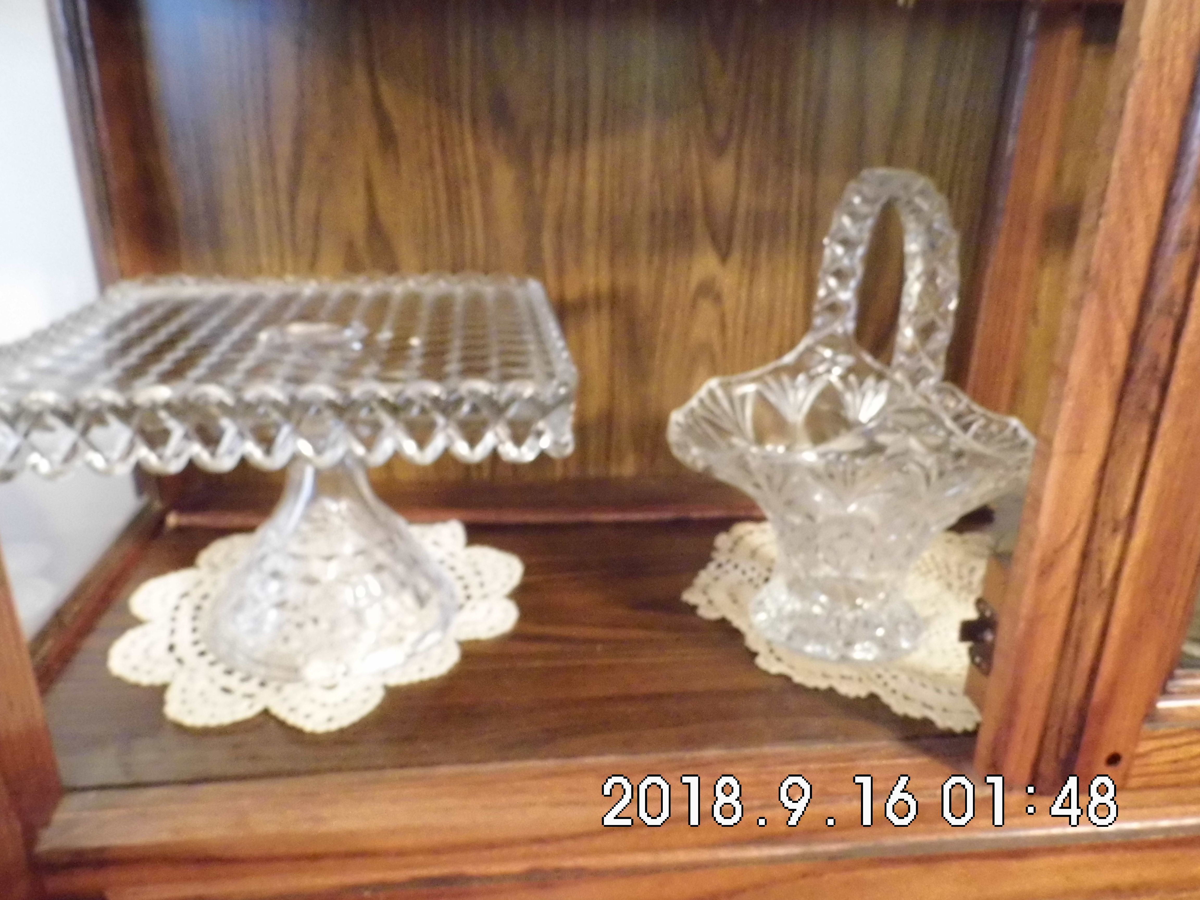 Crystal Cake Plate and Bowl